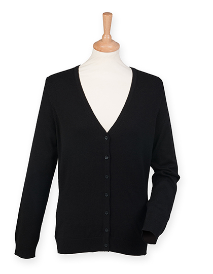 Damen V-Neck Cardigan schwarz Strickware Pullover