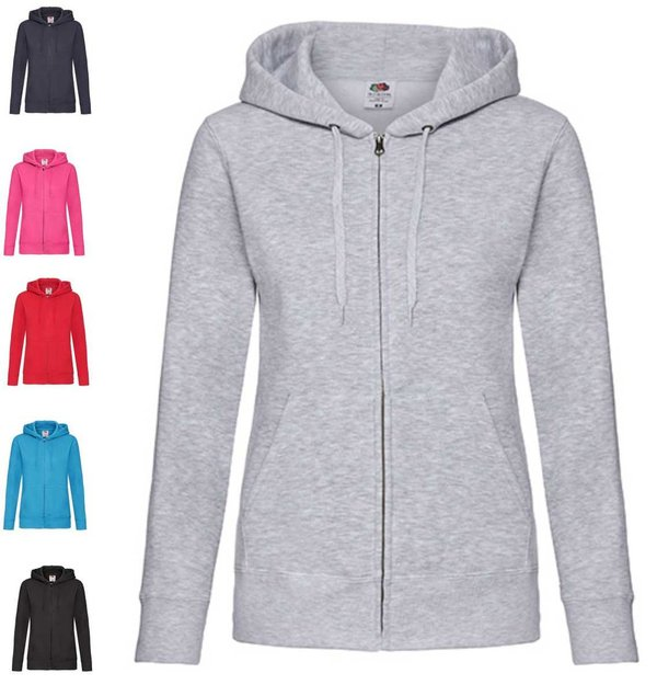 Ladies Premium Hooded Sweat Jacket Damen Sweatjacke Fruit of the Loom Jacke Kapuzenjacke mit Zipper